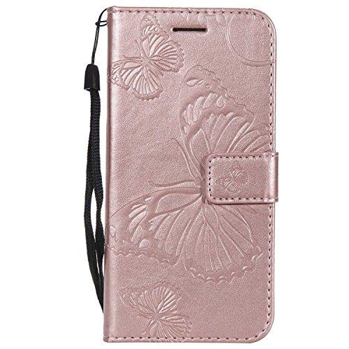 DENDICO Cover Galaxy S7, Pelle Portafoglio Custodia per Samsung Galaxy S7 Custodia a Libro con Funzione di appoggio e Porta Carte di cRossoito - Oro Rosa