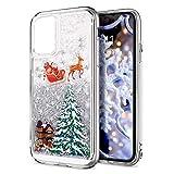 Xmas Hülle für Samsung Galaxy A91 / Samsung S10 Lite 2020 Clear Phone Cover Weihnachten für Mädchen Fließend Flüssigkeit Glitzer Hüllen Sparkly Stars Fun Hülle Silber