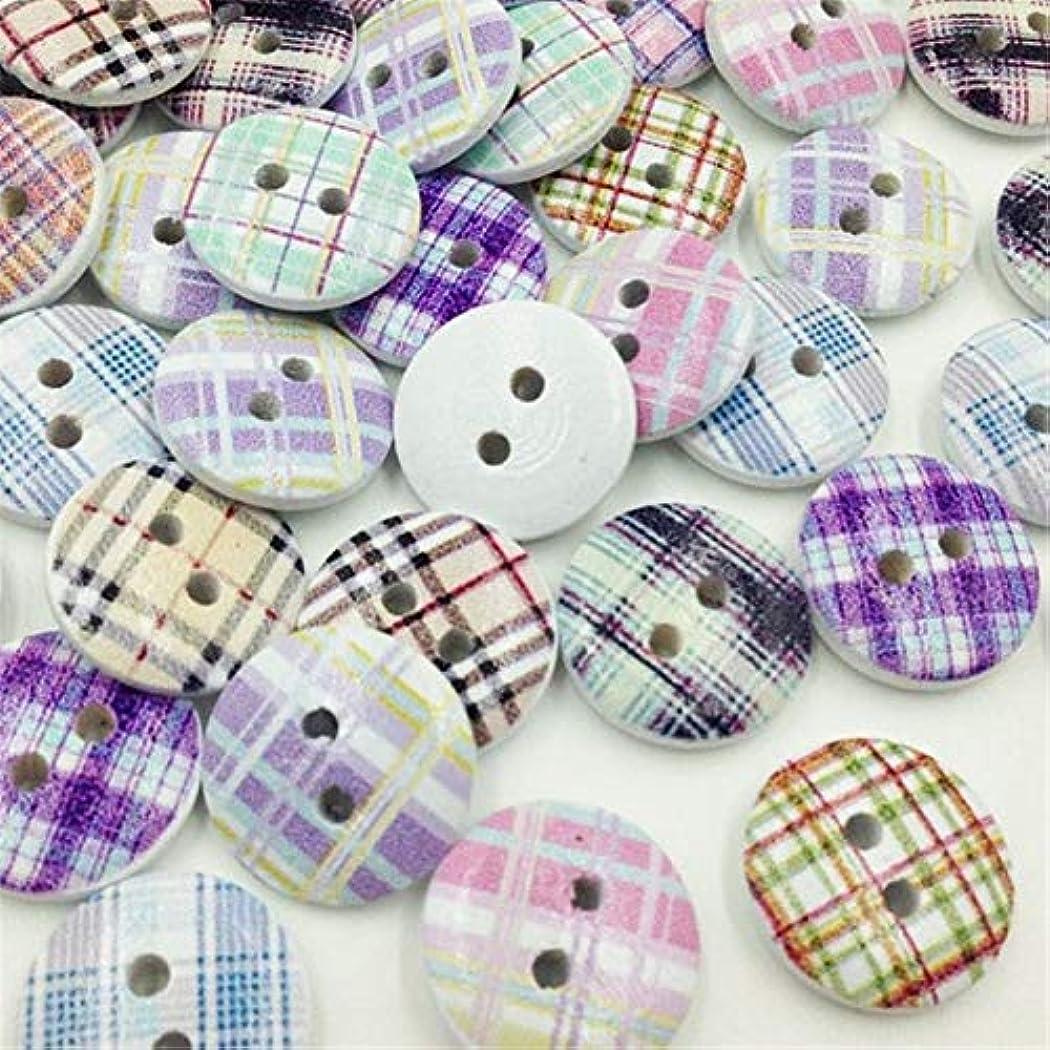 インキュバス道路を作るプロセス意気揚々Jicorzo - グリッドウッドボタン縫製子供のクラフトミックスロットスクラップブッキング[50個]