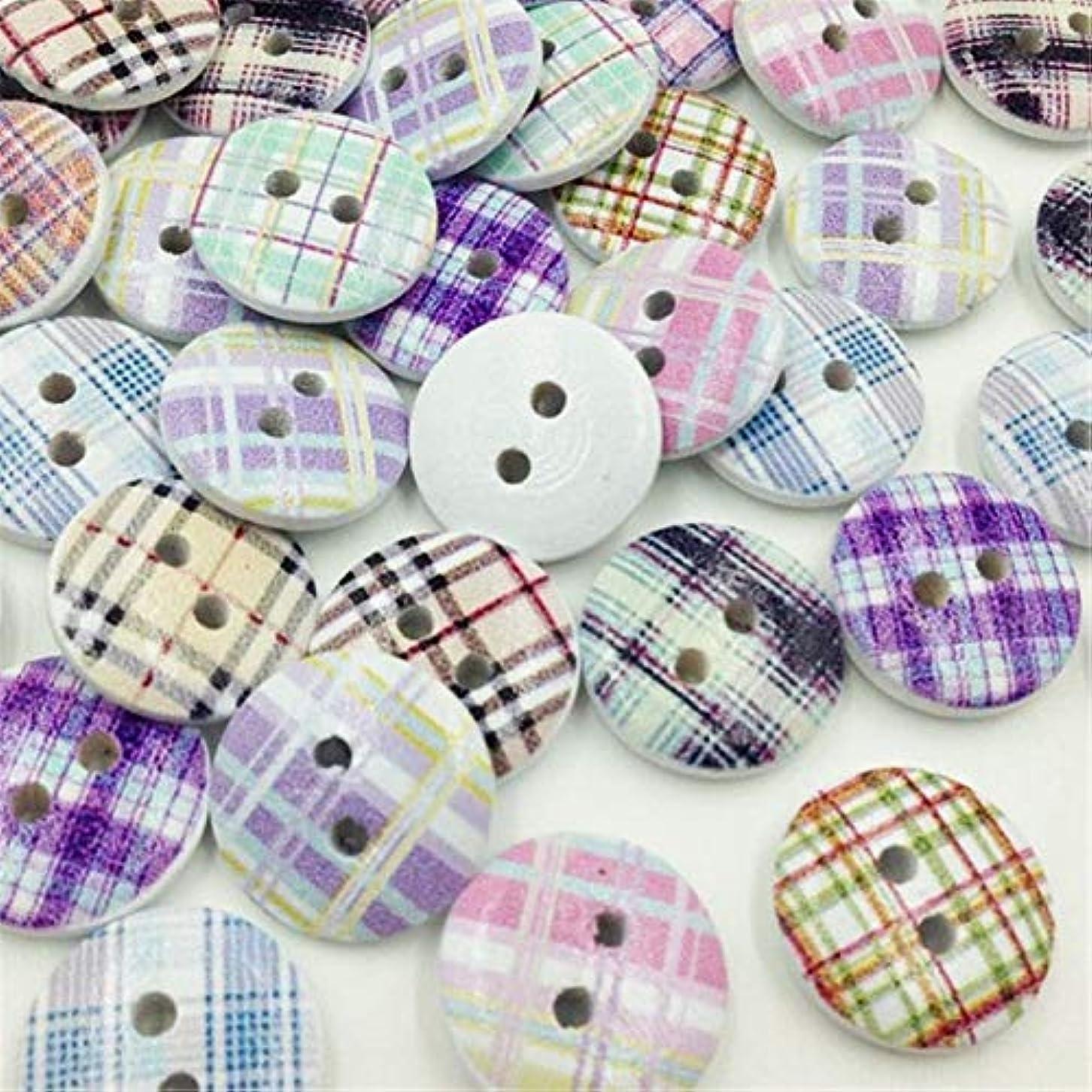 レンジドラッグモナリザJicorzo - グリッドウッドボタン縫製子供のクラフトミックスロットスクラップブッキング[50個]