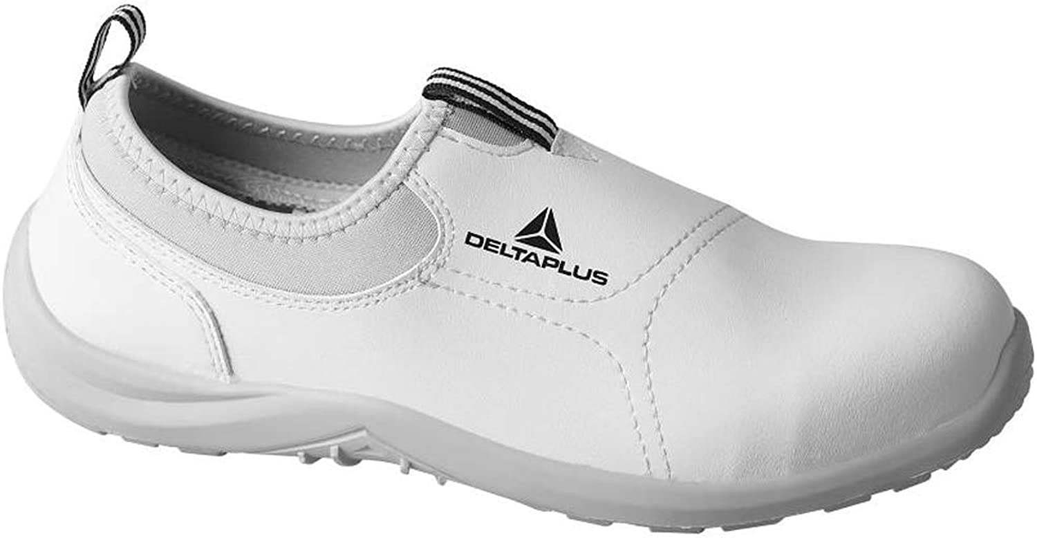 Delta Plus Miami S2 White Microfibre Slip On Steel Toe Safety Sneakers Trainers (US 3)
