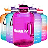 BuildLife Gallon Motivational Water Bottle with Time Marked to Drink More Daily - BPA Free Reusable Gym Sports Outdoor Large 128oz Capacity(Purple, 1 Gallon)