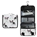 Bardic Hanging Travel Toiletry Bag Fashion French Bulldog Large Capacity Makeup Cosmetic Bag Portable Toiletry Kit Organizer