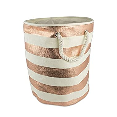 DII Woven Paper Basket or Bin, Collapsible & Convenient Home Organization Solution for Bedroom, Bathroom, Dorm or Laundry (Medium Round - 14x17) - Copper Rugby Stripe