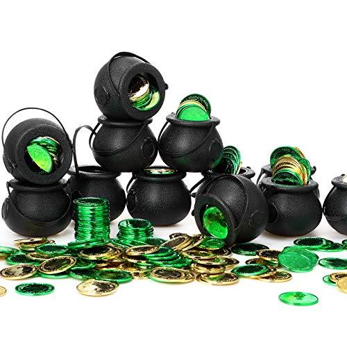 12 Mini Calderos de Plástico de Dulces Novedosos Caldero de Bruja Negra con Mango y 360 Monedas Plásticas de Duende de Suerte Moneda de Trébol Oro Verde para Regalos de Día de San Patricio