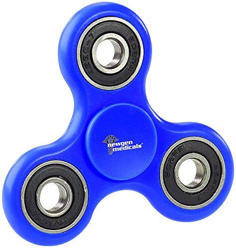 newgen medicals Fidget Spinner: 3-seitiger Hand-Spinner mit hochwertigem ABEC-7-Kugellager, blau (Fidget Spinner als Handspielzeuge)