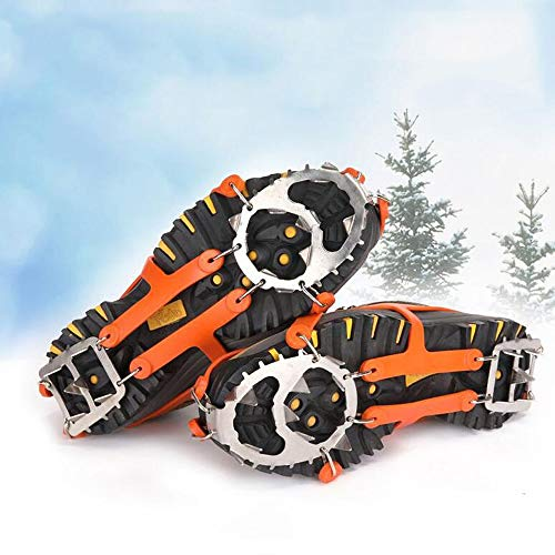 Holidel Crampons with 18 Stainless Steel Spikes Ice Cleats TearResistant Traction Cleat for Walking On Snow Hiking Jogging Fishing 1 Pair Orange Color Orange L