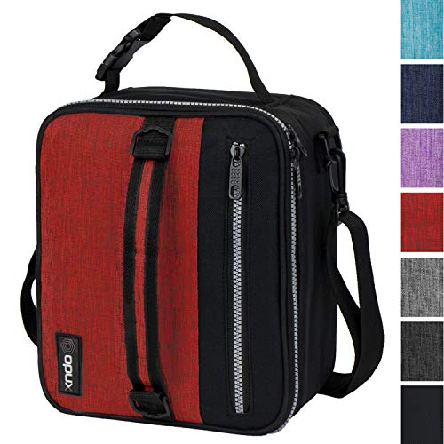 OPUX Premium Insulated Lunch Box for Men, Women | School Lunch Bag for Boys, Girls, Kids | Compact Adult Lunch Pail Work Office Cooler | Soft, Leakproof, 4 Ways to Carry | Fits 12 Cans (Red)
