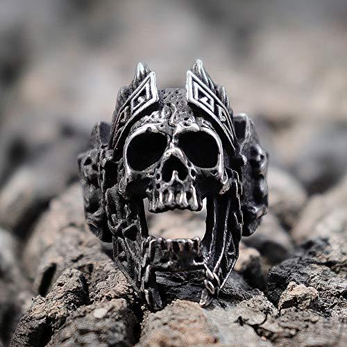 DSBN Unique Gods of War Ares Skull Rings Punk Rock Warrior 316L Anillo De Acero Inoxidable Hombres Biker Jewelry 8