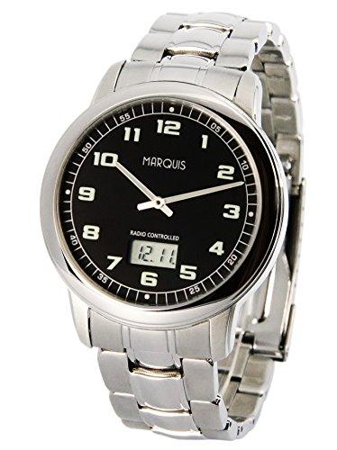 MARQUIS Herren Funkuhr, Gehäuse und Armband aus Edelstahl, deutsches Funkwerk, Armbanduhr 964.6046