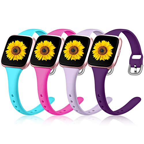 Wepro 4 Pack Slim Bands Compatible with Fitbit Versa 2/Fitbit Versa/Versa Lite/Versa SE for Women Men, Replacement Wristband for Fitbit Versa Smartwatch, Small, Lavender, Teal, Plum. Rose Pink