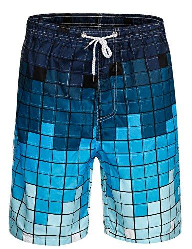 APTRO Herren Shorts Freizeit Casual Mode Urlaub Strandshorts Sommerhosen Blau Kariert M