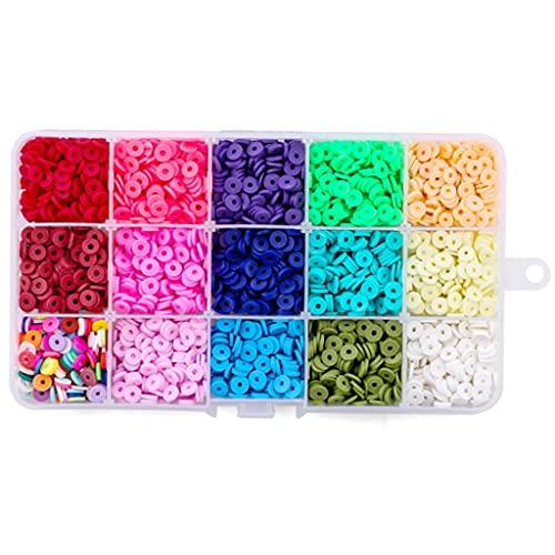 WANMEI - Cuentas para hacer joyas, pulseras, collares, pendientes, manualidades, cuentas redondas, discos, de color bohemios, hermosos anillos