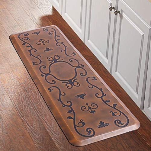 Urvigor Kitchen Mat Anti Fatigue Mat Comfort Floor Mat Standing Mat,Antique Light Flower Pattern (24x70x3/4-Inch, Light Antique)
