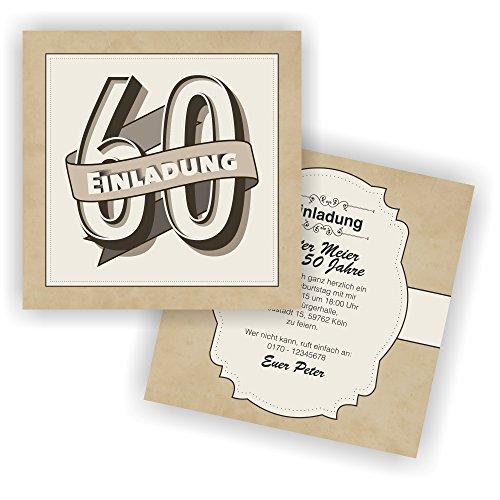 Einladung RETRO 148x148mm l Einladungskarten zum 60. Geburtstag (20 Stück)