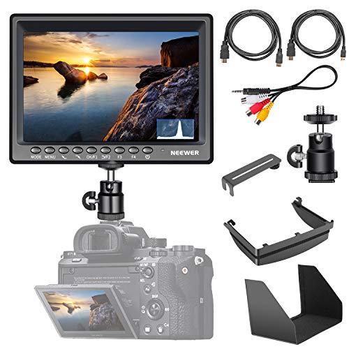 Neewer F200 Feldmonitor Ultradünner IPS-Bildschirm 1080P Full HD unterstützt 4kHDMI Eingang mit Histogramm, Fokus-Assistent und Aufforderung zur Überbelichtung für DSLR-Kamera (ohne Akku)