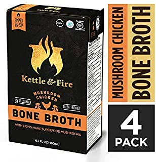 Mushroom Chicken Bone Broth by Kettle and Fire, Pack of 4, Keto Diet, Paleo Friendly, Whole 30 Approved, Gluten Free, with Collagen, 10g of protein, 16.2 fl oz