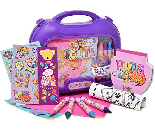 Gift Boutique Paw Patrol Coloring and Activity Carry Case, Includes Jumbo Crayons, Stickers, Mess Free Crafts, Doodle Pad, Bookmark, Reuse Me Stickers, for Girls, Toddlers and Kids