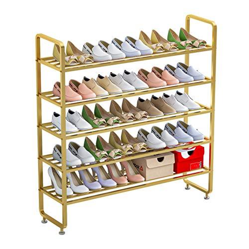 Nvshiyk Organizador de Zapatero Golden Metal Shoe Rack Almacenamiento y organización Rack de 5 Capas de Entrada de Canal de Entrada Durable y Estable (Color : Gold, Size : 100x28x86cm)