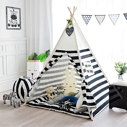 TreeBud Kinder Spielen Zelt Baumwolle Leinwand Kinder Indisches Tipi-Zelt mit schwarzen Streifen Tragbares und langlebiges Zelt für Kinder Spielen