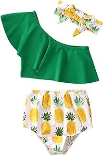 Geagodelia, Juego de 3 piezas de traje de baño para niña de verano, camiseta verde sin hombros + pantalones con estampado de piña, banda con lazo para playa