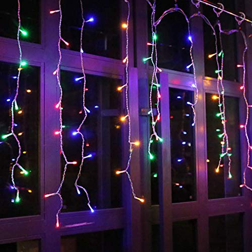 YOLIGHT 13ft 96 LEDs Icicle Curtain String Drop Lights, Indoor Outdoor Decoration for Christmas Festival Wedding Party Patio Garden (Multi-Color)