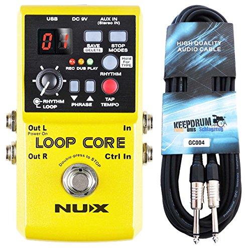 NUX Loop Core Effektgerät Looper Pedal + keepdrum Gitarren-Kabel 3m