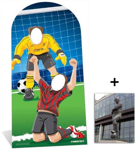 Fußballer Lebensgrosse Pappfiguren stehen hinter Pappaufsteller mit 25cm x 20cm foto