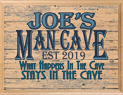 Man Cave Sign Custom Personalized Name - Wood Wall Art Décor Gift for Men Him Dad Husband or Grandpa