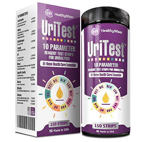 Urine Test Strips of 10 Parameters for Urinalysis Made in the United States. There are 150 in all. pH Test, Ketones, and Protein are all included. Paper for Reagent Testing HealthyWiser's Whole Family and Pets