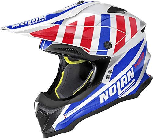 Nolan N53 Cliffjumper Casco Motocross Bianco/Rosso/Blu S (56)