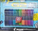 Pilot G2 Premium Gel Roller, Fine 0.7mm, 20 Retractable Pens