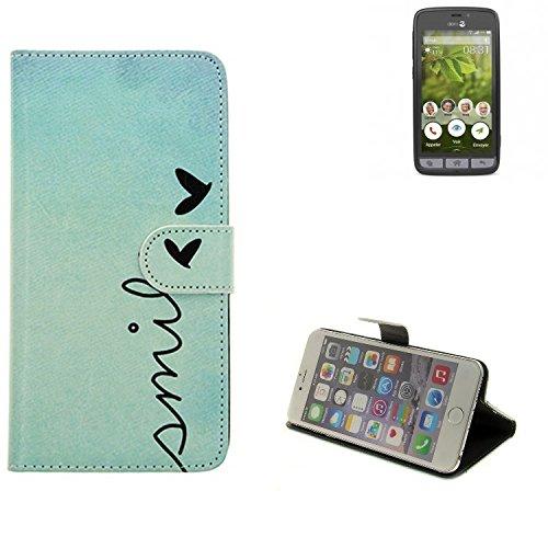K-S-Trade® Schutzhülle Für Doro 8031 Hülle Wallet Case Flip Cover Tasche Bookstyle Etui Handyhülle ''Smile'' Türkis Standfunktion Kameraschutz (1Stk)