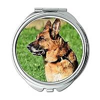 ミラー、コンパクトミラー、Schäfer犬ドイツ羊飼いオールドドイツ羊飼い犬、ポケットミラー、携帯用ミラー