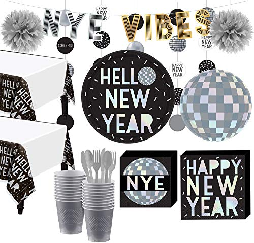 Party City Super Disco New Year's Eve Party Tableware Kit for 16 Guests, Party Supplies, Includes Hanging Decor