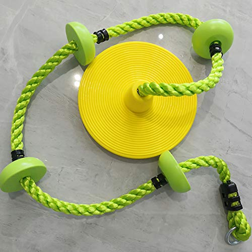Hignful Kids Climbing Rope Children Garden, 2M / 6.5Ft Tree Climbing Rope with Foot Holder Platform And Disc Swing Seat Set Rope Ladder for Kids Outdoor Tree Backyard Playground Swing, Yellow