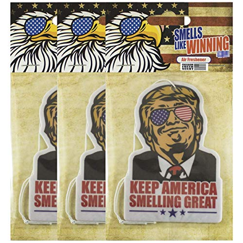 Keep America Smelling Great President Donald Trump New car auto Truck SUV Home Smell Fresh and Clean Scent Hanging air freshener Filter Diffuser Refresher Odor Eliminator Aroma Purifier Spray Mist