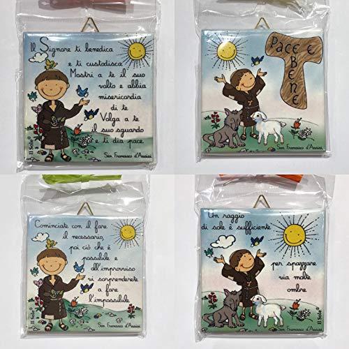 Piastrelle SAN FRANCESCO 4 pezzi CON FRASI ASSORTITE (4 modelli) bomboniera, battesimo, cresima, comunione