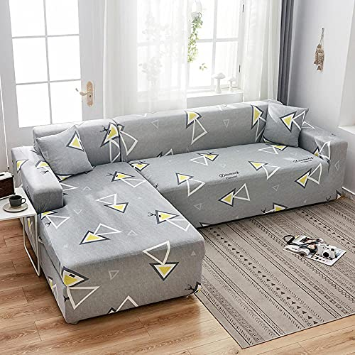 Funda de Sofá1 Plazas,Jacquard Poliéster Funda Sofa Elasticas Suaves Resistentes Sofa Antideslizante, Cubierta para Sofa Protector-Gris Claro, Triangular