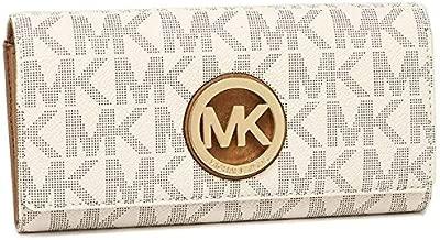 Michael Kors 35T7GFTE1B Fulton MK Signature PVC Carryall Wallet - Vanilla/Acorn