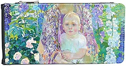 Western Women Holding Baby On Flowers Oil Painting MultiCard Faux Leather Rectangle Wallet Card Purse Gift