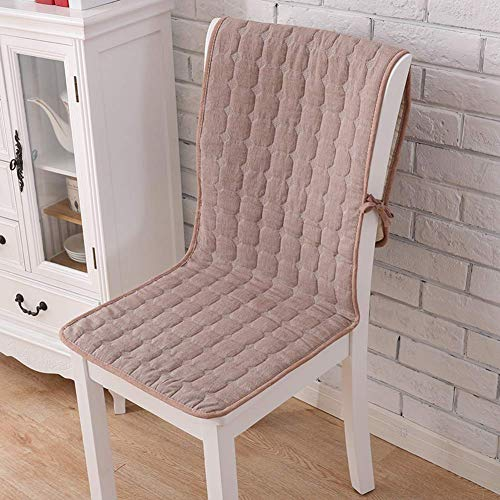 WJX&Likerr With pocket One-piece Chair cushion, Cotton Four seasons Seat cushion Set Non-slip Chair With straps Dining Chair cushion-Khaki A 50x140cm