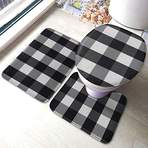 Set di 3 tappeti da bagno in bianco e nero con stampa a quadri morbidi assorbenti antiscivolo + contorno + coperchio WC