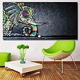 KWzEQ Arte Abstracto de la Pared de Coloridos Graffiti Animal Elefante Carteles y Lienzo Sala de Estar en la Pared,Pintura sin Marco,75x150cm