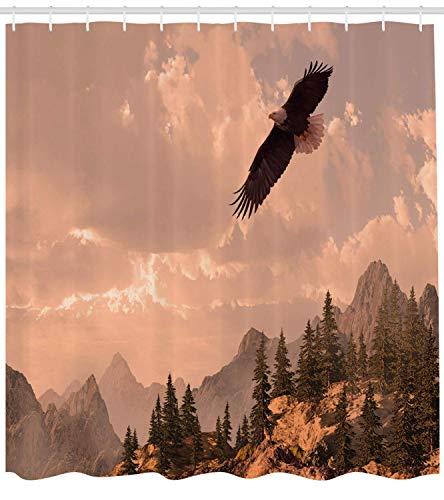 Ambesonne Adler Duschvorhang, Naturfotografie von Felsenbergen & Wald mit einem Kahlen Adler fliegend, Stoff Badezimmerdeko-Set mit Haken, Roségrün, Textil, Multi 1, 69W x 84L
