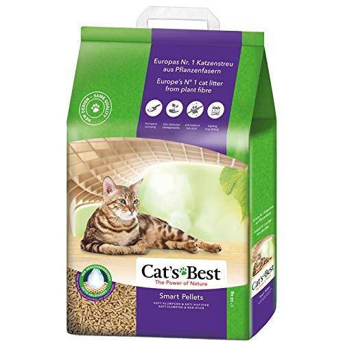 Cats Best Smart Pellets Arena para Gatos, 20 L, sin Perfume, antibacteriana, desechable e hipoalergénica, con fórmula de Control de Olor, combinada con 4 Bolas de Juguete Trixie Nub