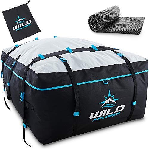 Rooftop Cargo Carrier Bag XXL - Waterproof 19 Cubic Ft Rooftop Cargo Bag - Roof Bag Works with OR Without Car Roof Rack - Overhead Luggage Storage Car Top Carrier for Camping, Travel and Road Trips