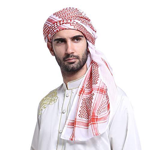 Men'sLarge Arab Shemagh Turban Bandana Headscarf Breathable Soft Muslim Hijab Headband Shawl Keffiyeh Arabic Scarf Headcover Red