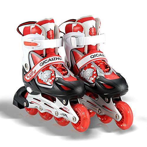 WALLHANG Inline Skate,Kinderrollschuhe,Klettverschluss,Einstellbare Größe,Jungen und Mädchen universell - rot - M