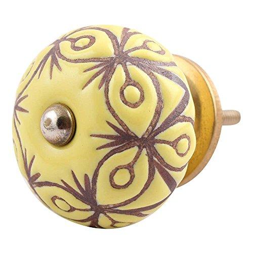 10 piezas de cerámica artesanal Indianshelf amarillo estampado floral armario cajón perillas de puertas armario APARADOR Aparador tira de nuevo en línea